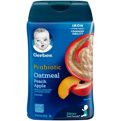 Gerber Probiotic Oatmeal & Peach Apple Baby Cereal - 8oz