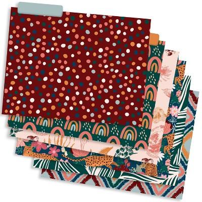 12pk Decorative Paper File Folders 1 Pocket Boho - The Time Factory
