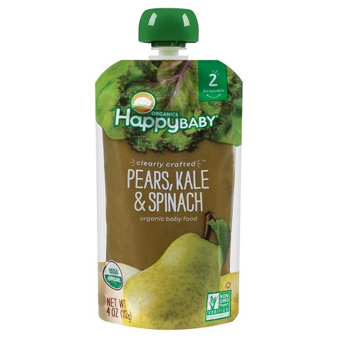 Happy Baby Clearly Crafted Stage 2 Organic Baby Food, pear, kale & spinach - 4oz - image 1 of 4