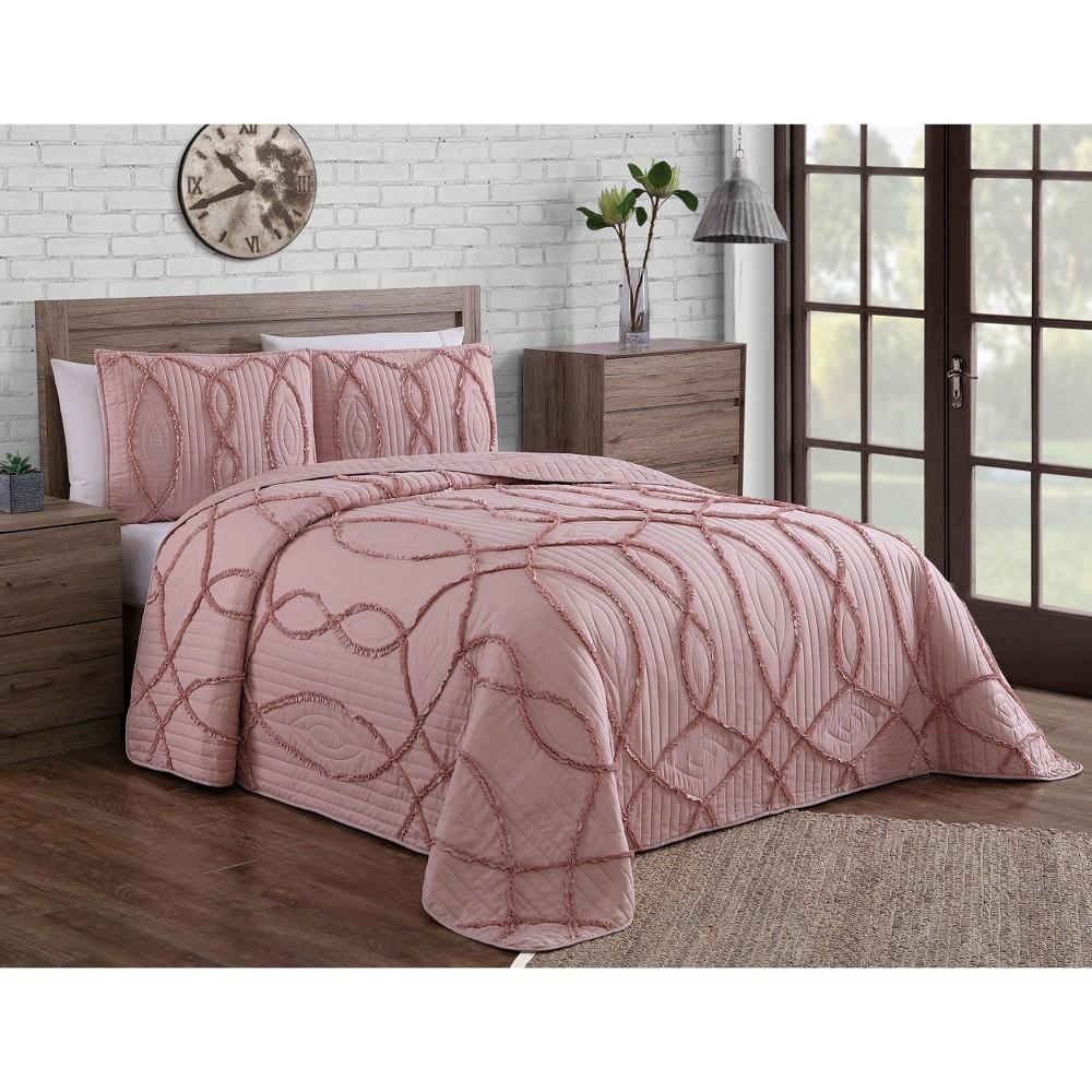 Image of 3pc King Sonora Quilt Set Blush - Geneva Home Fashion
