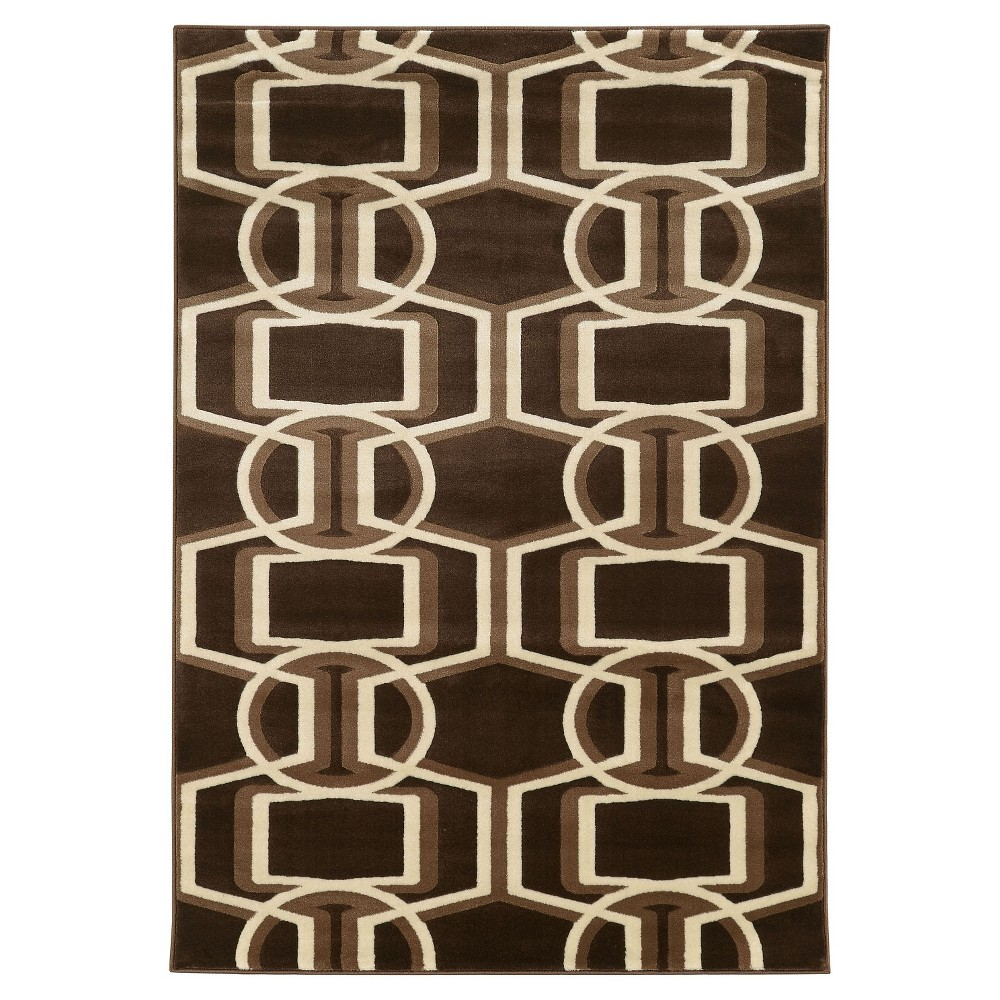 Roma Bridle Area Rug - Chocolate / Beige (5'3 X 7'), Brown/Beige