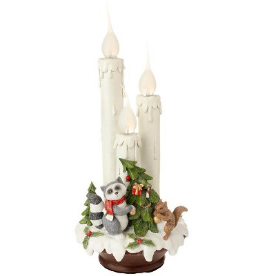 """Raz Imports 14"""" White and Green Wilderness Animals C7 Flame Tipped Christmas Candle Lamp"""