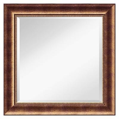"25"" x 25"" Manhattan Bronze Wood Framed Wall Mirror - Amanti Art"
