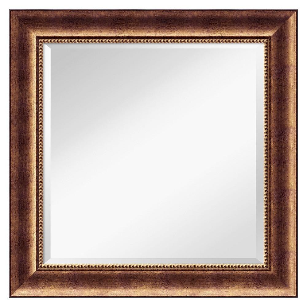 Square Manhattan Decorative Wall Mirror - Amanti Art, Brown