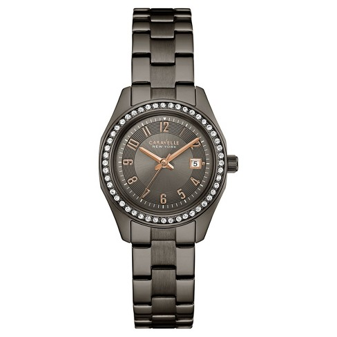 e3f88ed8be74e Women s Caravelle New York Crystal Stainless Steel Watch 45M110 - Black    Target