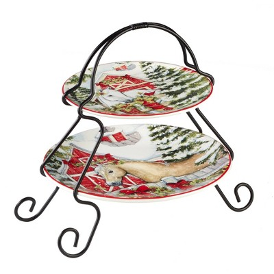 Earthenware 2-Tier Homestead Christmas Serving Tray with Metal Stand- Certified International