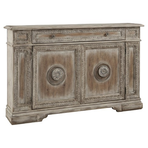 Cate Weathered Pecan Carved Door Credenza - Brown - Pulaski - image 1 of 2