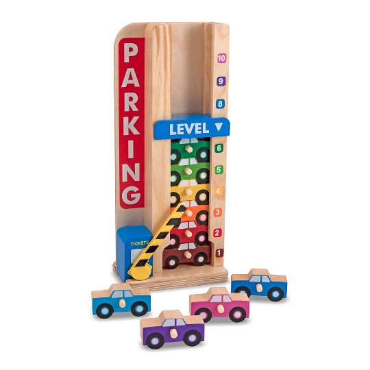 Melissa & Doug Stack & ct Wooden Parking Garage With 10 Cars image number null