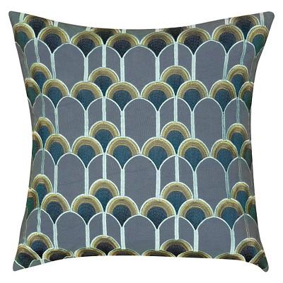 Blue Embroidery Design Throw Pillow Contemporary Design (20 x20 )- Rizzy Home