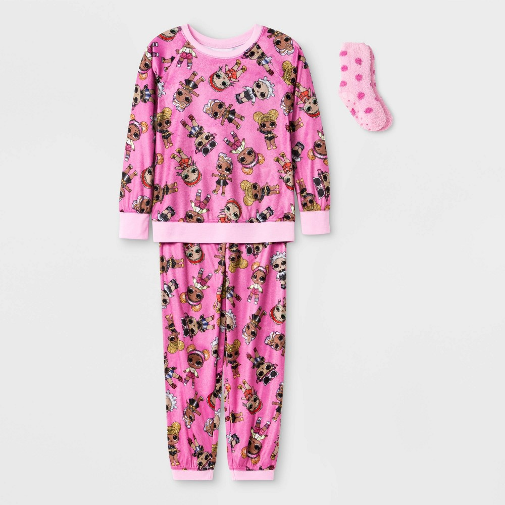 Image of Girls' L.O.L. Surprise! 2pc Pajama Set with Socks - Pink, Girl's, Size: Large