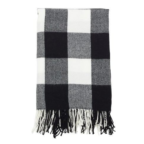 Buffalo Plaid Check Pattern With Tassel Trim Throw Blanket   Saro