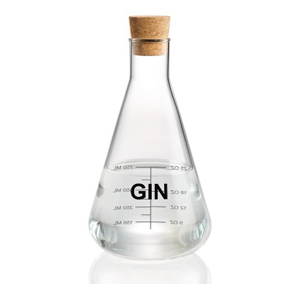Home Mixology Glass Gin Decanter With Cork Stopper 25oz