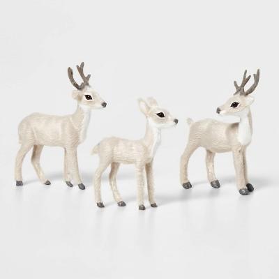 3ct Deer Set Decorative Figurine Gray - Wondershop™