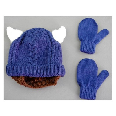 Toddler Boys' Viking Hat and Mitten Set - Cat & Jack™ Blue 12-24M