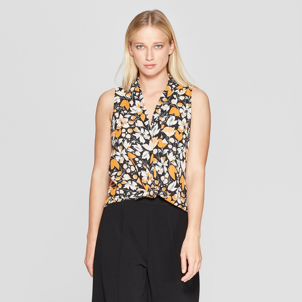 Women's Floral Print Sleeveless Button-Up Front Pocket Top - Who What Wear Black XS