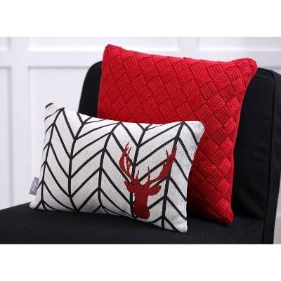 Herringbone Buck Lumbar Throw Pillow Gray/Black - Pillow Perfect : Target