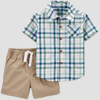 Baby Boys' 2pc Plaid Top & Bottom Set - Just One You® made by carter's Green/Brown/Blue Newborn