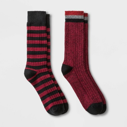 Men's Striped Boot Socks 2pk - Goodfellow & Co™ Red 7-12 - image 1 of 2
