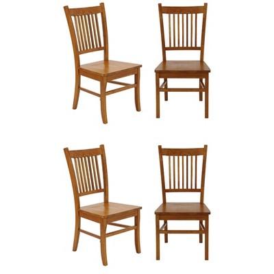 Coaster Home Furnishings Marbrisa Slat Hardwood Contemporary Modern Ladder Back Side Dining Room Chairs, Sienna Brown (Set of 4)