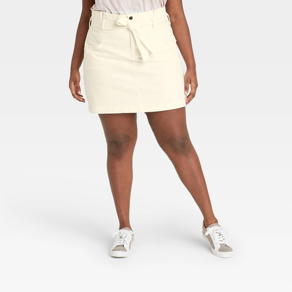 Women 39 S Plus Size High Rise Tie Waist Denim Mini Skirt Universal Thread 8482 Ecru 26w