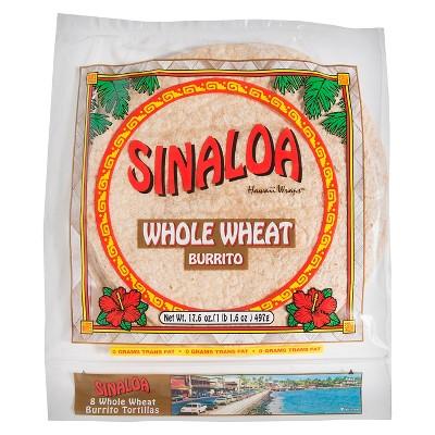 Sinaloa Burrito Size Whole Wheat Hawaii Wraps Tortillas - 17.6oz/8ct