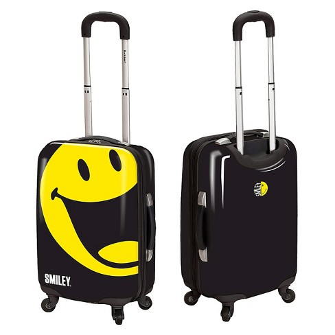 """Smiley 22"""" Spinner Suitcase with TSA Lock - Black - image 1 of 2"""
