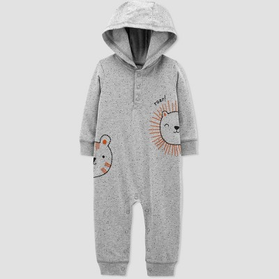 Baby Boys' Lion Tiger Hood Romper - Just One You® made by carter's Gray 6M