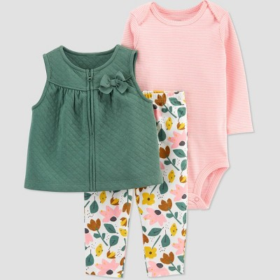 Baby Girls' Floral Top & Bottom Set - Just One You® made by carter's Green 6M