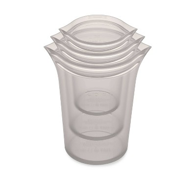 Zip Top Reusable 100% Platinum Silicone Container - 3 Cup Set (S/M/L)- Gray