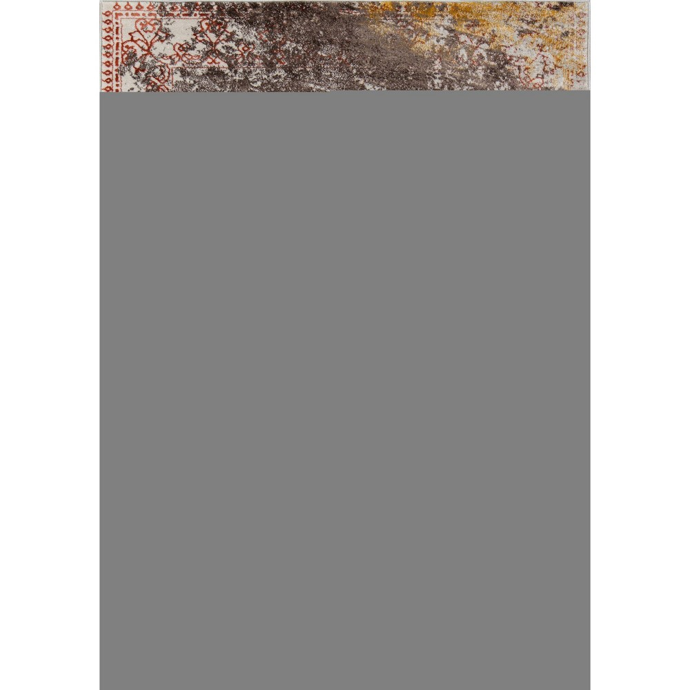 Rust Shapes Loomed Area Rug 5'3