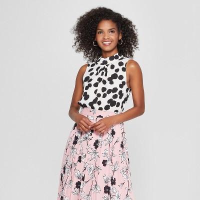 Women's Polka Dot Mock Neck Tank Top - Who What Wear™ Cream/Black XS