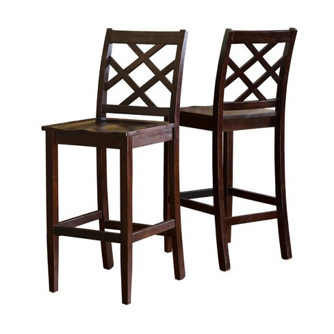 Set of 2 Lyam Wooden Barstool Brown Mahogany - Christopher Knight Home - image 1 of 4