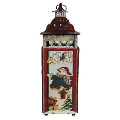"Christmas 15.25"" Snowman Tea Light Lantern Laser Cut Cardinal Frosty  -  Decorative Figurines"