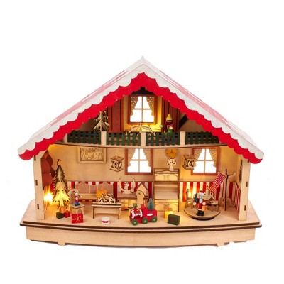 "Kurt Adler 13.38"" Battery-Operated Musical Village LED House"