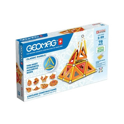 Geomag Magnetic Panels Building Set Recycled Red/Orange/Yellow - 78ct