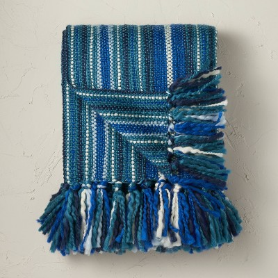 Woven Striped Throw Blanket Teal - Opalhouse™ designed with Jungalow™