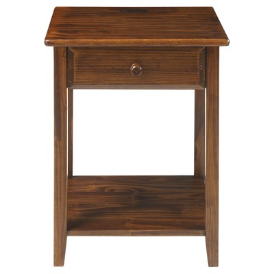Nightstand with Usb Port - Warm Brown - Flora Home