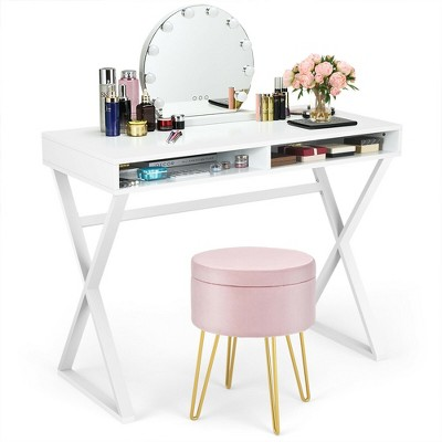 Costway Vanity Table Set Writing Desk Makeup Table w/Round Storage Ottoman Pink/Green