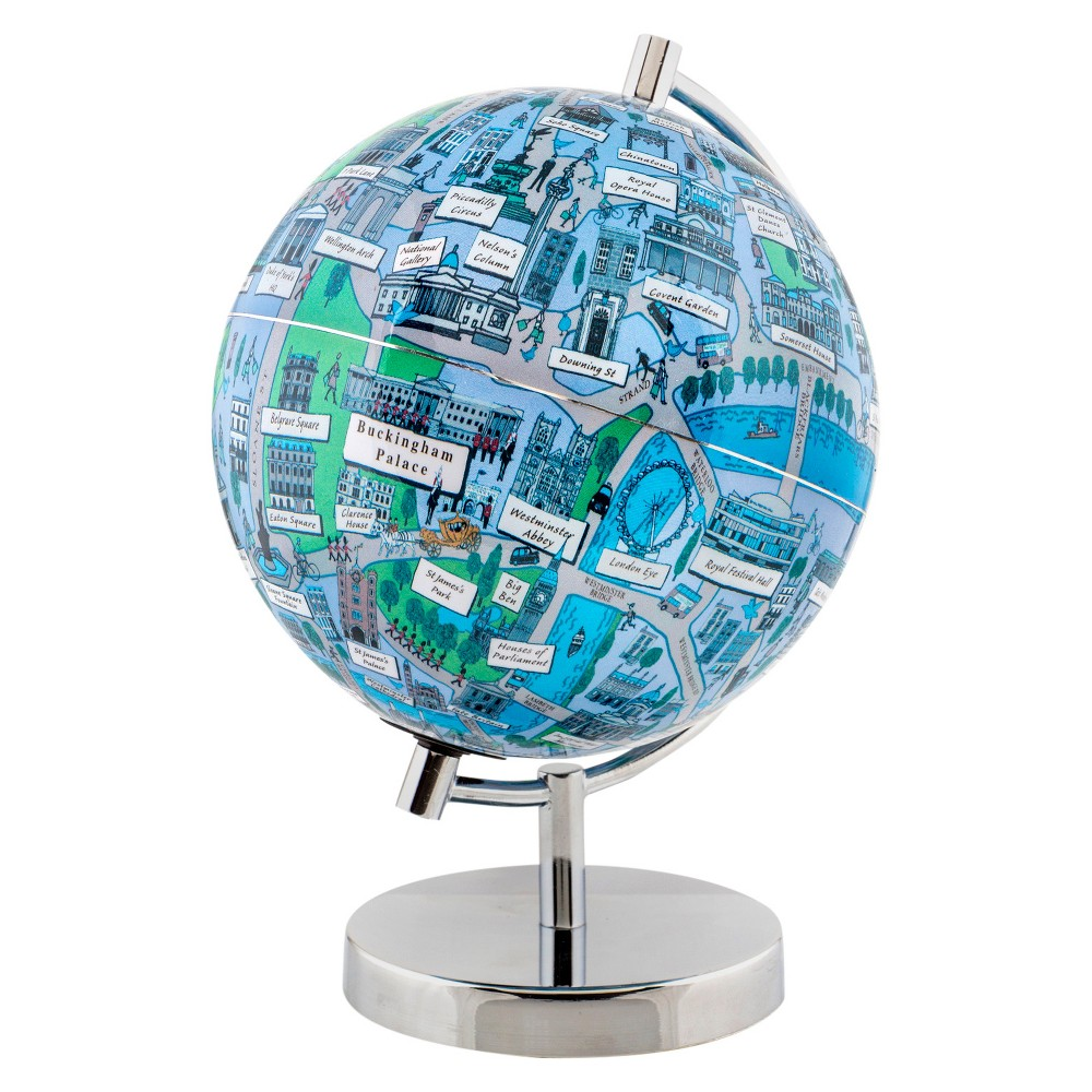 Globee London 9 Illustrated Globe, Multi-Colored See London at night in the form of an illuminated globe. The London Night Light Globe is 9-inches in diameter and comes with a chrome silver stand. The globe depicts all the major landmarks and tourist sites of the city as well as the major streets and some of the famous characters associated with it and includes a 16 page informational booklet. Makes a wonderful gift or addition to any room. This globe is illuminated using Led lights within the globe and powered by Aaa batteries which are not included. You will never need to replace a light bulb! Color: Multi-Colored. Age Group: Adult.