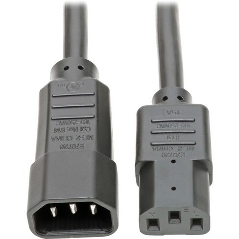 "Tripp Lite 18in Power Cord Extension Cable C14 to C13 Heavy Duty 15A 14AWG 18"" - 15A, 14AWG (IEC-320-C14 to IEC-320-C13) 18-in."" - image 1 of 4"