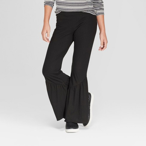 Girls' Rib Flare Pants - art class™ Black XS - image 1 of 3