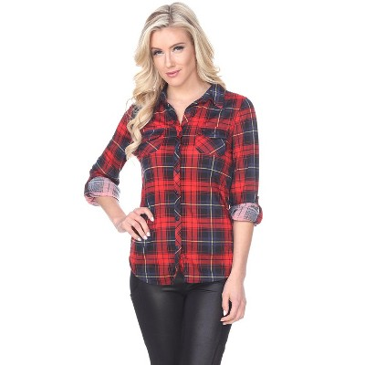 Women's Oakley Stretchy Plaid Tunic Top with Pockets - White Mark