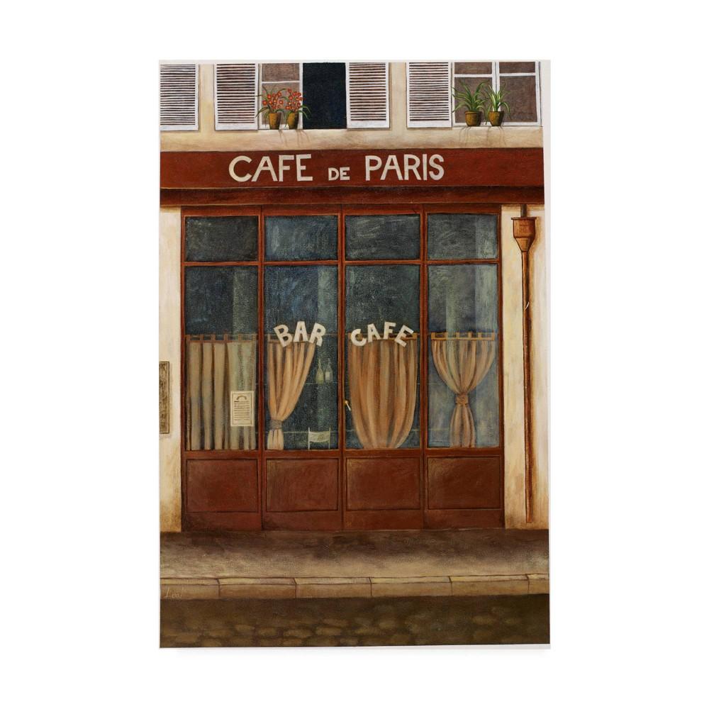 "Image of ""12"""" x 19"""" Pablo Esteban 'Red Cafe Street 1' Canvas Art - Trademark Fine Art"""