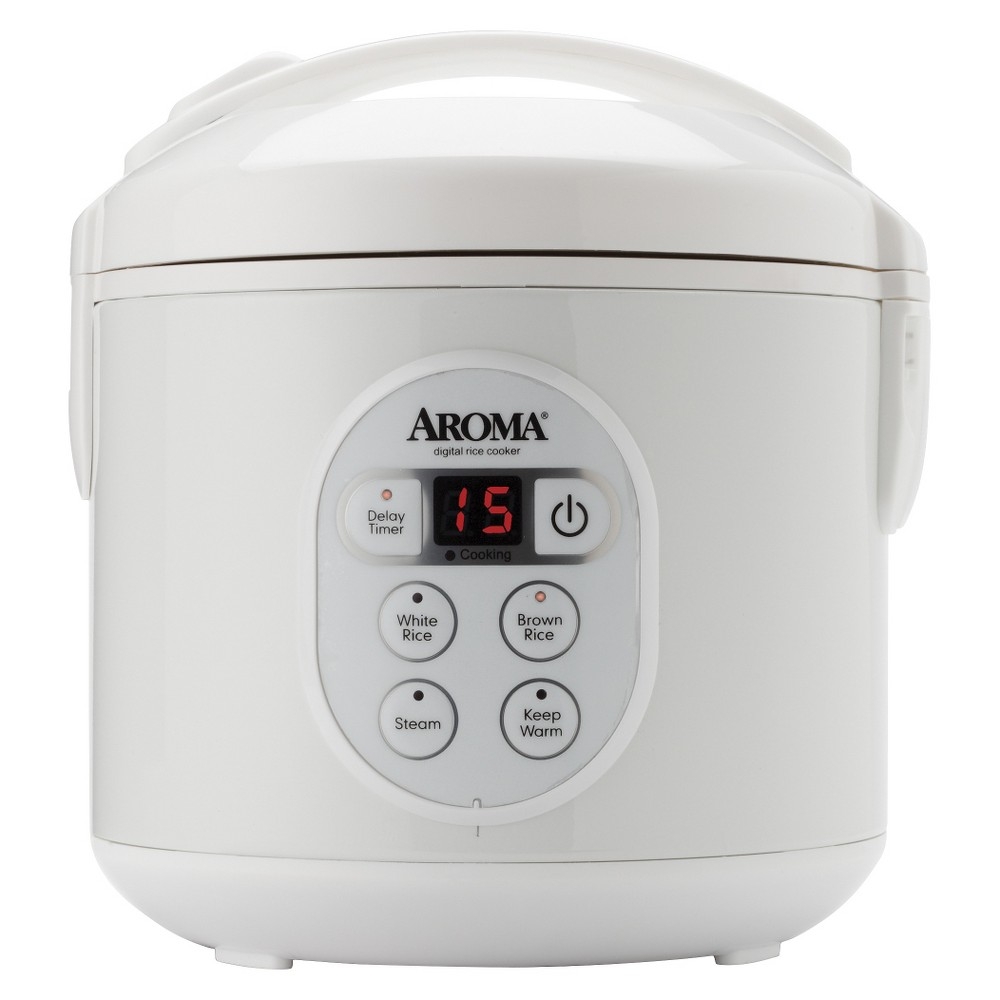 Aroma 8-Cup ( cooked ) 4-cup (uncooked) Digital Rice Cooker Enjoy easy home cooking with the Aroma 8-Cup Digital Rice Cooker and Food Steamer. Its compact capacity perfectly cooks 2 to 8 cups of rice with specialized functions for both White and Brown Rice. Once the rice has finished, it will automatically switch to Keep-Warm so there's no need for monitoring or stirring. The Steam Tray allows for healthy steaming of meats and vegetables, even as rice cooks below. The programmable 15-hour delay timer is great delivering delicious rice ready when it's needed. And when the cooking is done, the inner cooking pot and all accessories remove for easy cleanup.