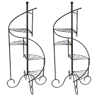 """Sunnydaze Indoor/Outdoor Iron Metal 4-Tiered Potted Flower Plant Stand with Spiral Staircase Design - 56"""" - Black - 2pk"""