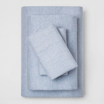 Queen Fall Flannel Eco-Melange Sheet Set Blue - Threshold™