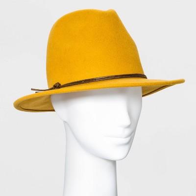 Women's Felt Fedora Hat - Universal Thread™ Mustard