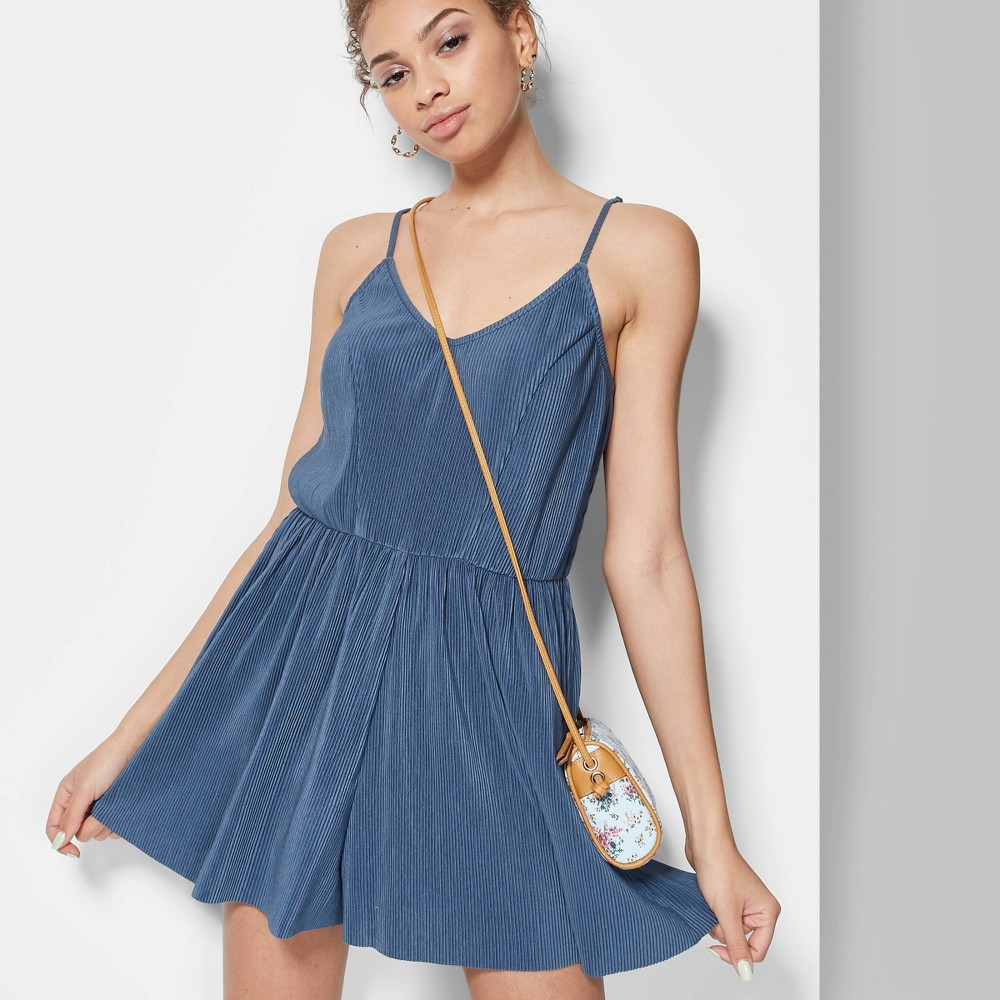 Women's Strappy V-Neck Ribbed Knit Romper - Wild Fable Muted Blue XS
