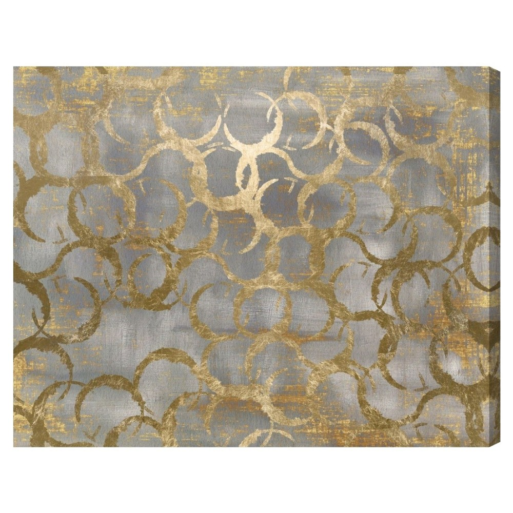 "Image of ""Oliver Gal Unframed Wall """"Old Coins"""" Canvas Art (16x12), Gray Gold"""