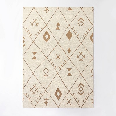 7'x10' Claybourne Hand Tufted Tribal Shag Two Tone Diamond Wool/Jute Area Rug Ivory - Threshold™ designed with Studio McGee